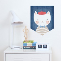 French Cat Wall Banner Decal