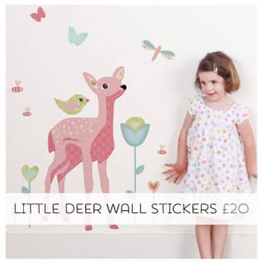 Removable Fabric Wall Stickers. Little Deer Pack.