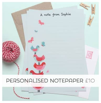 Give the Gift of cuteness with a Personalised Notepaper Pack